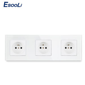 Image 2 - Esooli Crystal Glass Panel French Standard Wall Socket 258*86mm Power Socket Plug Grounded 16A Black Electrical Triple Outlet