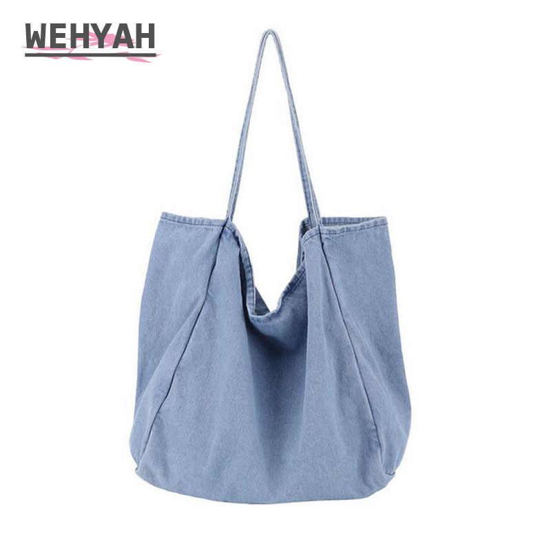 Wahyah Denim omuz el çantası kadın 2019 omuzdan askili çanta büyük kapasiteli kovboy günlük kot çanta kadın çanta bolsos ZY046