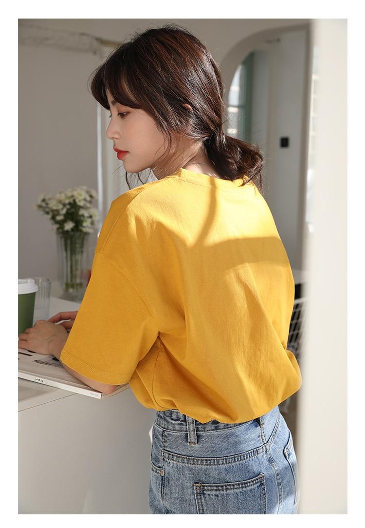 Hf3b7e9cc49004130a7d70b231d135a4aU - Summer O-Neck Short Sleeves Minimalist Loose Basic T-Shirt