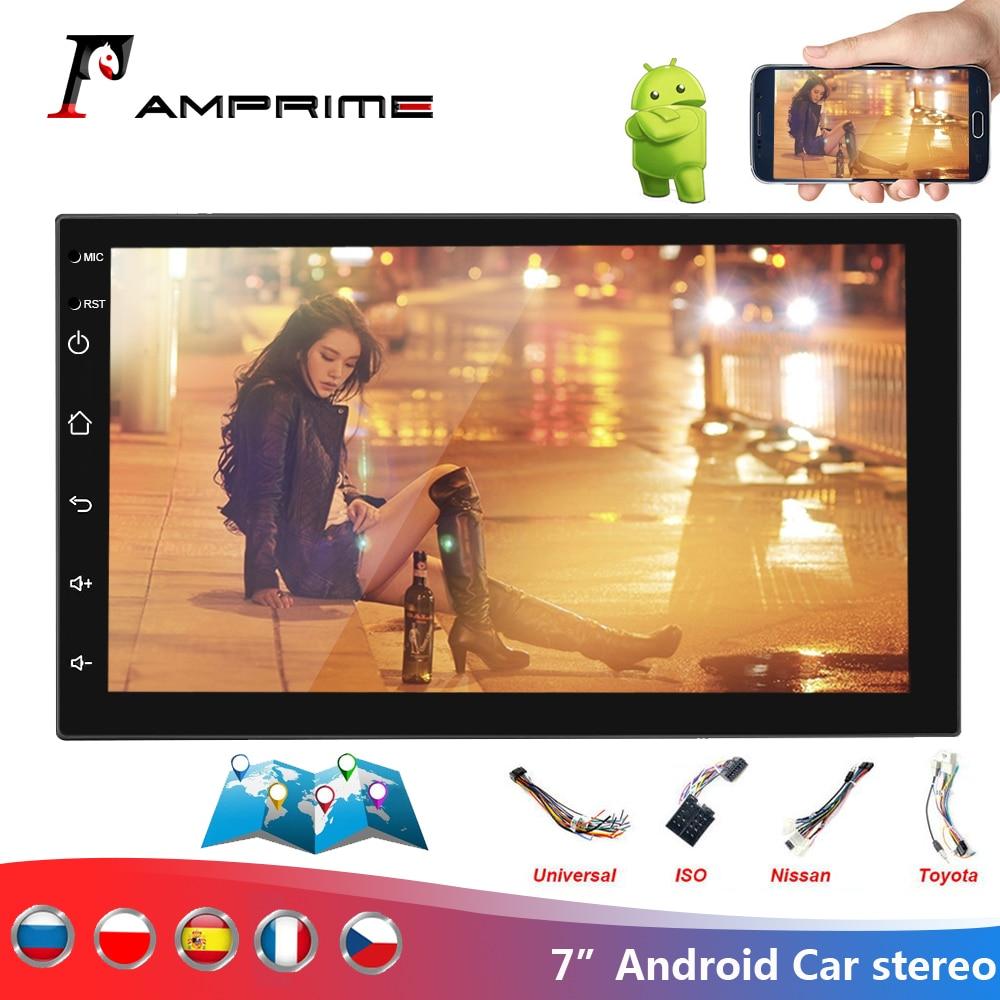 AMPrime-autoradio 7 pouces Android 2 din | Autoradio, 7 pouces, Bluetooth, wifi, Audio, stéréo, FM, USB, lecteur MP5, avec caméra arrière, Audio