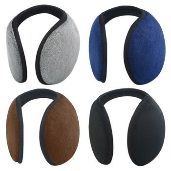 Unisex solidne zimowe nauszniki kobiety mężczyźni obudowa ochronna uszu zagęścić pluszowe miękkie ciepłe nauszniki cieplej prezent akcesoria odzieżowe tanie i dobre opinie Dla dorosłych Kaszmirowy Stałe Aktywny Unisex Earmuffs Men s Earmuffs Black Grey Navy blue Blue 12cm 38 5cm Active Rear wear