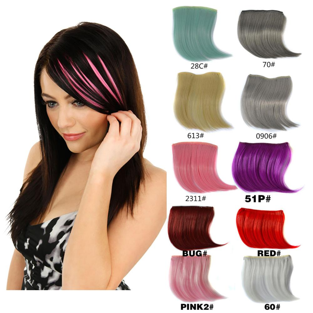 jeedou Pure Color Natural Invisible Hair Bangs Hair Extensions Synthetic Blue Gray Pink Red Colorful Colors Bang image