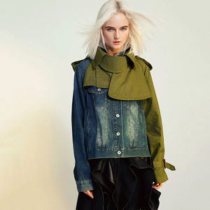 Image 2 - EAM veste en Denim à manches longues pour femmes, nouveau manteau à manches longues, coupe ample épissure, mode printemps automne 2020 1B093