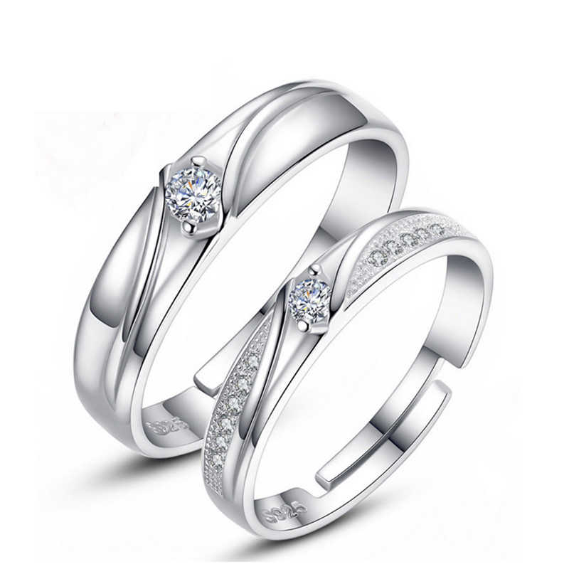 조정 가능한 크리스탈 커플 반지 여성을위한 설정 커플 반지에 대 한 은색 반지 남성 여성을위한 설정 약속 약혼 반지