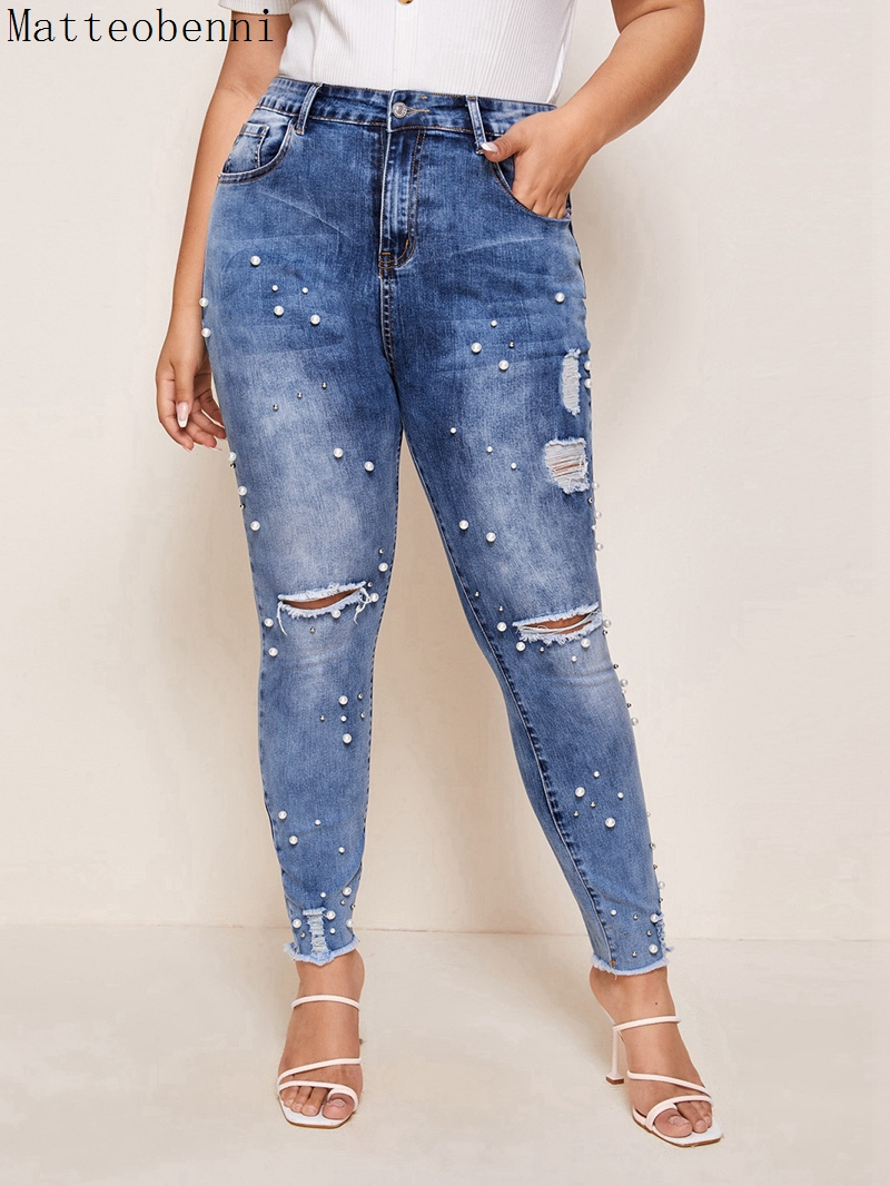 New High waist Beaded Skinny jeans Women Vintage Denim Pants sexy ripped Pencil Pants Casual Trousers Autumn Mom Jeans Plus size|Jeans| - AliExpress