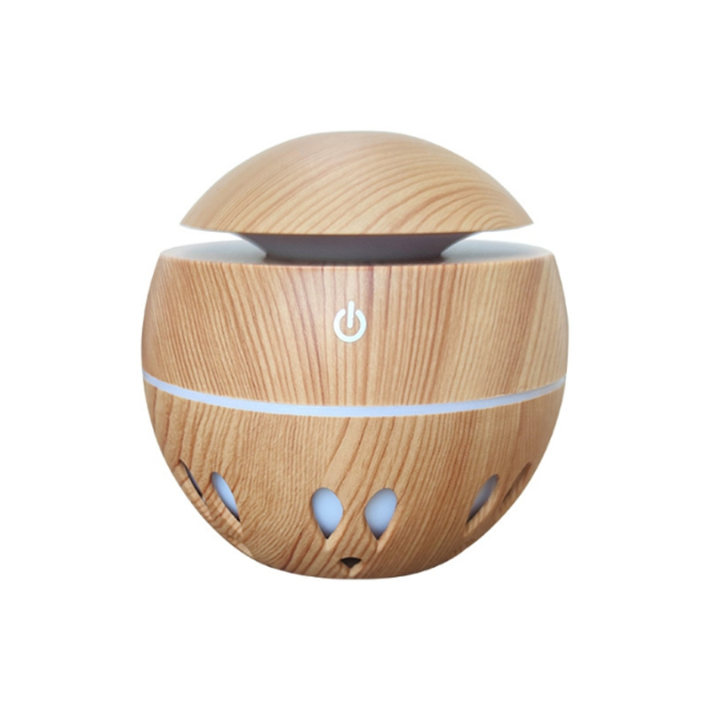 Air Humidifier 130Ml Aroma Essential Oil Diffuser with Wood Grain 7 Color Changing LED Lights for Office Home