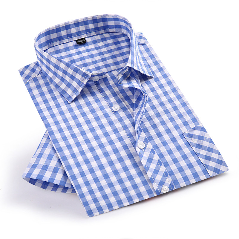 Summer Short Sleeve Blue Plaid Shirts Fashion Men Casual Shirts Square Collar Loose Fit Shirts With Front Pocket 100% Cotton