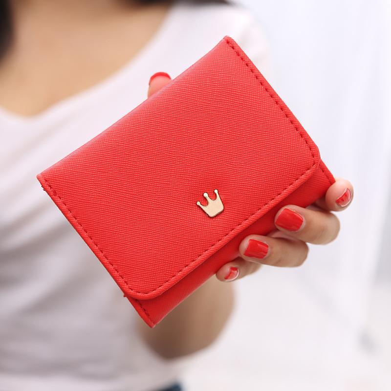 Женский кошелек короткие кожаные маленькие кошельки с короной для женщин мини