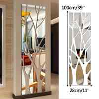 100x28/135x37cm 3D Mirror Effect Wall Sticker DIY Self Adhesive Art Wall Decal Stickers Home Decor for Living Room