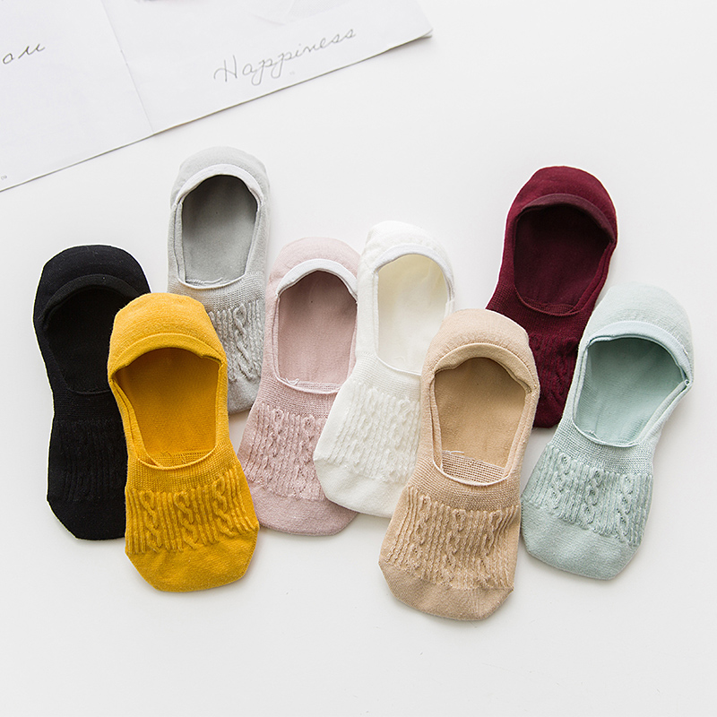 5 Pairs Breathable Women Socks Set Cotton Short Ankle Socks Pack Solid Invisible Non-slip Boat Sock Slippers Low Cut No Show