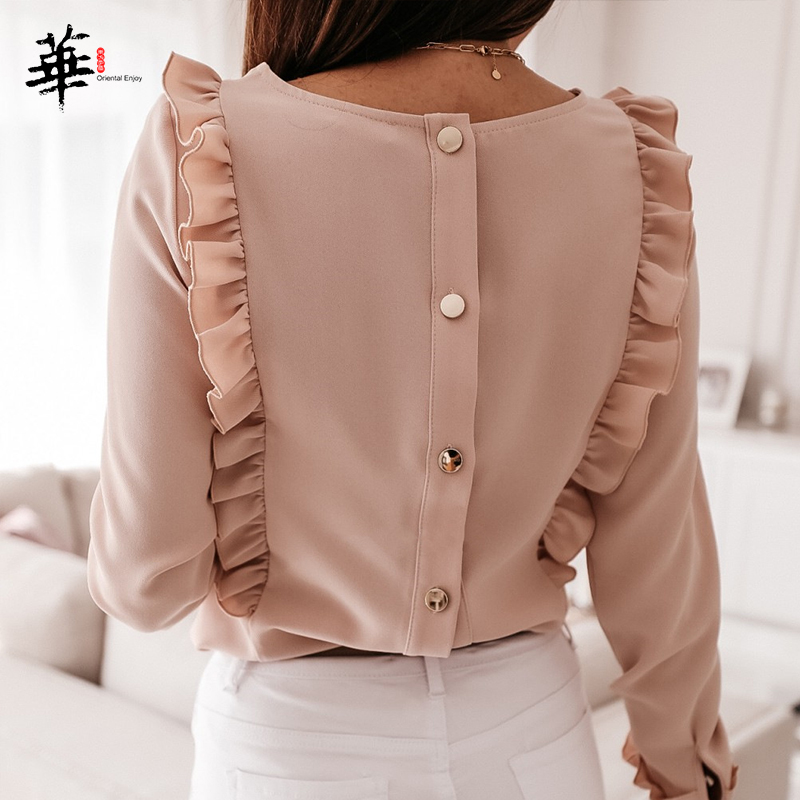 Elegant Ruffles Blouse Women 2020 O-neck Long Sleeve Blouse Autumn Fall Blusas Button Back Office Lady Women Blouses Tops Shirts