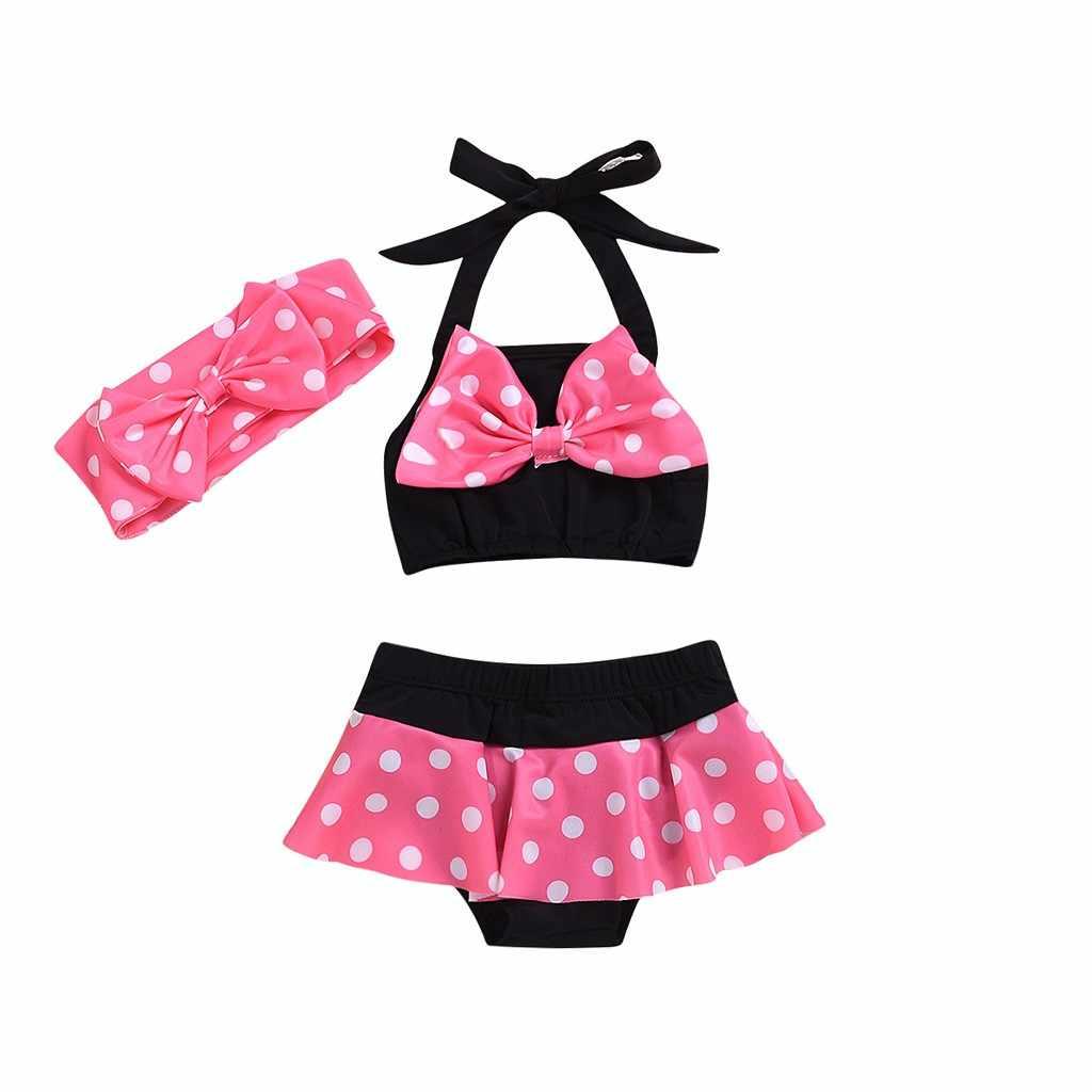 2020 طفل ملابس السباحة طفلة ملابس الصيف دوت بيكيني مطبوع طفل بلوزة بكشكشة + شورت + عقال بحر ثوب السباحة