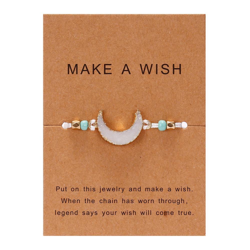 Для женщин браслеты на удачу бисера красная строка натуральный камень ткань браслеты мужчин ручной работы интимные аксессуары с карты - Окраска металла: white moon