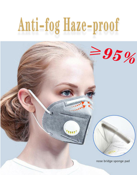 1pcs KN95 dust Mask Valved Face Mask N95 Protection Face Mask fine air filter anti odor smog dust pm2.5 mouth face mask 1