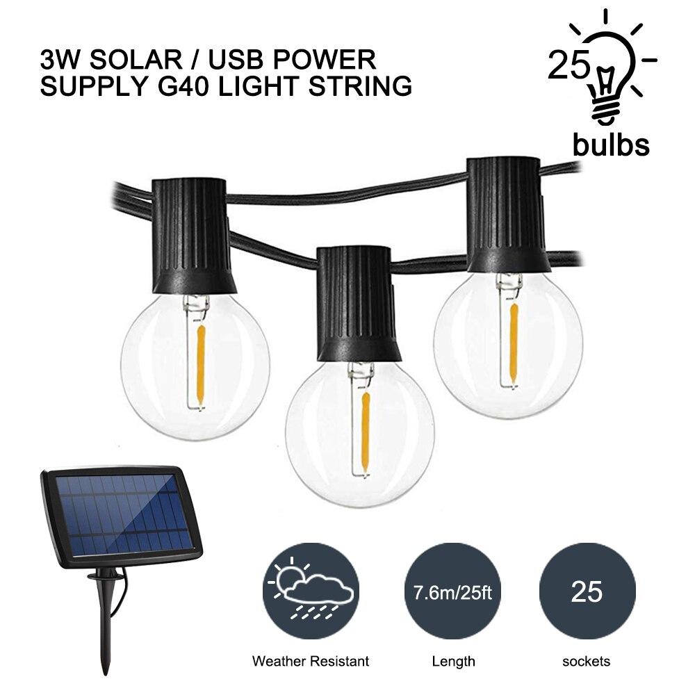 Светодиодный светильник на солнечной энергии Globe s G40, декоративная уличная гирлянда, светодиодный светильник Weddin 25 s, водонепроницаемые веч...