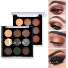 9 Color Matte Eye Shadow Palette Pigmented Nude Glitter Shimmer Eyeshadow Make Up Palette Beauty Cosmetics 1PC Unique Eye Shadow