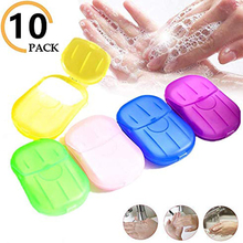 200 PCS  Disposable Boxed Soap Travel Portable Mini Paper Scented Slice Foaming Washing Hands Outdoors Clean Random Color