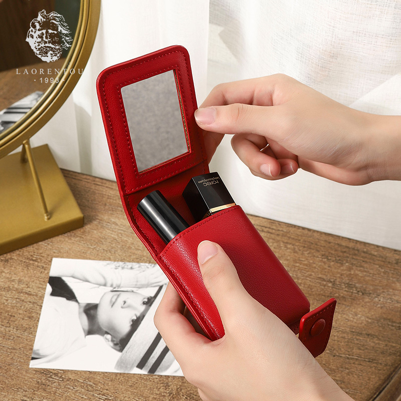 LAORENTOU Chic Earring Bag Mirror Lady Cosmetic Case Girl's Lipstick Bag Leather Female Cosmetic Bag Makeup Clutch Bag