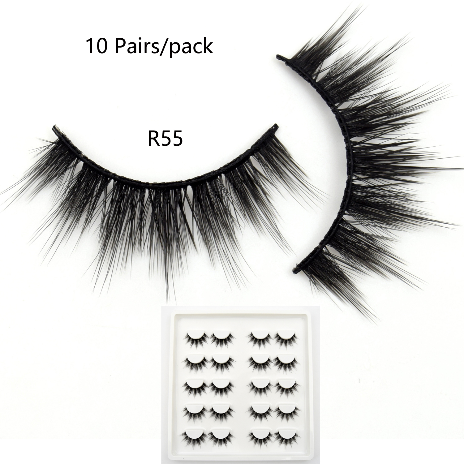 10 Pairs Faux Mink Lashes Bulk Natural Lashes Dramatic Lashes 3D False Eyelashes Handmade Full Strip Lashes R55 Makeup Eyelashes