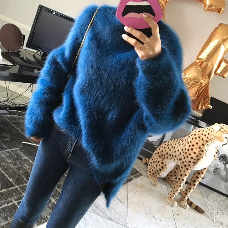 Sweater Cashmere Women Rose Red Fashion Winter Mohair Wool Plush Ladies Blue Velvet Thick Pullover