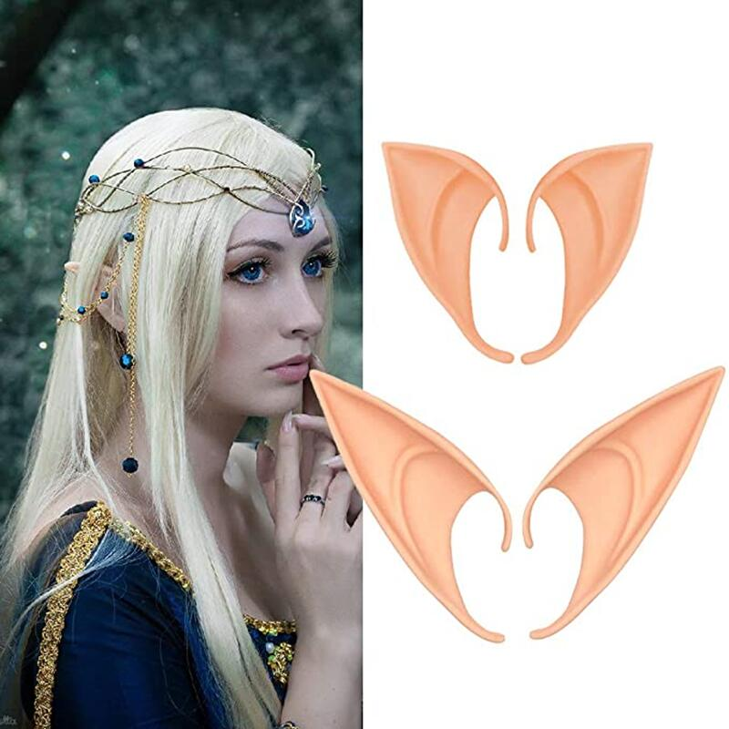 Latex Elf Ears Props Cosplay Supplies Halloween Christmas Decoration Party Makeup Fairy Tale Costume Accessories Holiday Gifts