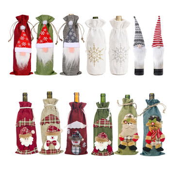 New Year 2021 Gnome Santa Claus Wine Bottle Dust Cover Xmas Feliz Navidad Noel Christmas Decorations for Home Dinner Table Decor fengrise santa claus christmas wine bottle cover merry christmas decor for home xmas ornaments gifts navidad 2020 new year 2021