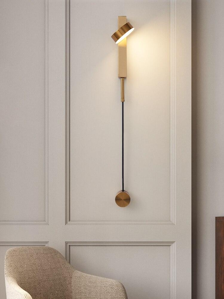 Современный новый скандинавский чердак Золотой светодиодный настенный светильник для спальни арт простой прикроватный настенный