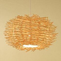 Nordic ptasie gniazdo żyrandol do restauracji azja południowo wschodnia z litego drewna ręcznie Bar kawiarnia lampa do kreatywnej dekoracji życia w Wiszące lampki od Lampy i oświetlenie na
