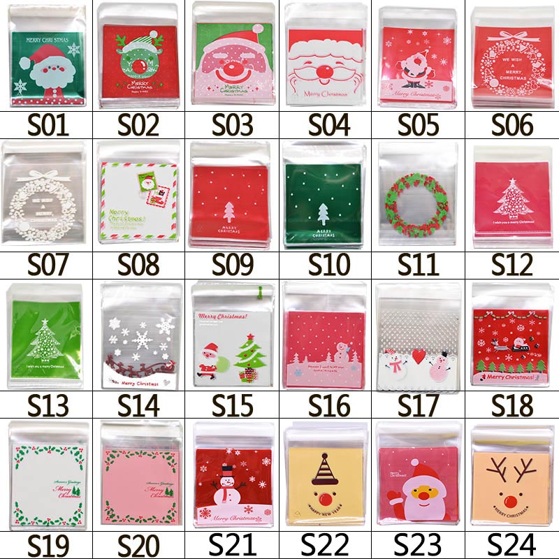 Image 5 - 50pcs 10x10cm Christmas Cookie Candy Gift Bags Plastic Self adhesive Biscuits Snack Packaging Bags Xmas Decoration Favors-in Gift Bags & Wrapping Supplies from Home & Garden