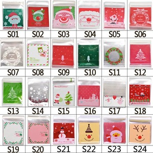 Image 5 - 50pcs 10x10cm Christmas Cookie Candy Gift Bags Plastic Self adhesive Biscuits Snack Packaging Bags Xmas Decoration Favors