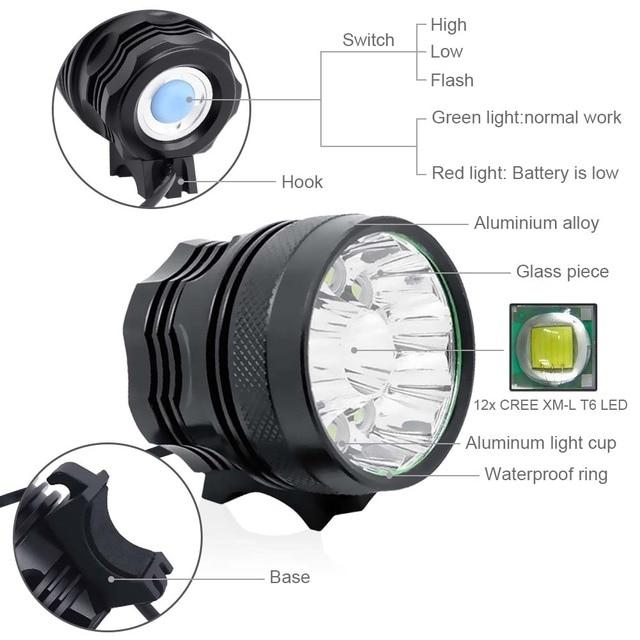 Wasafire 12 * t6 led 2 em 1 bicicleta farol 20000lm luz da frente lâmpada cabeça ciclismo lanterna + 18650 bateria carregador 6