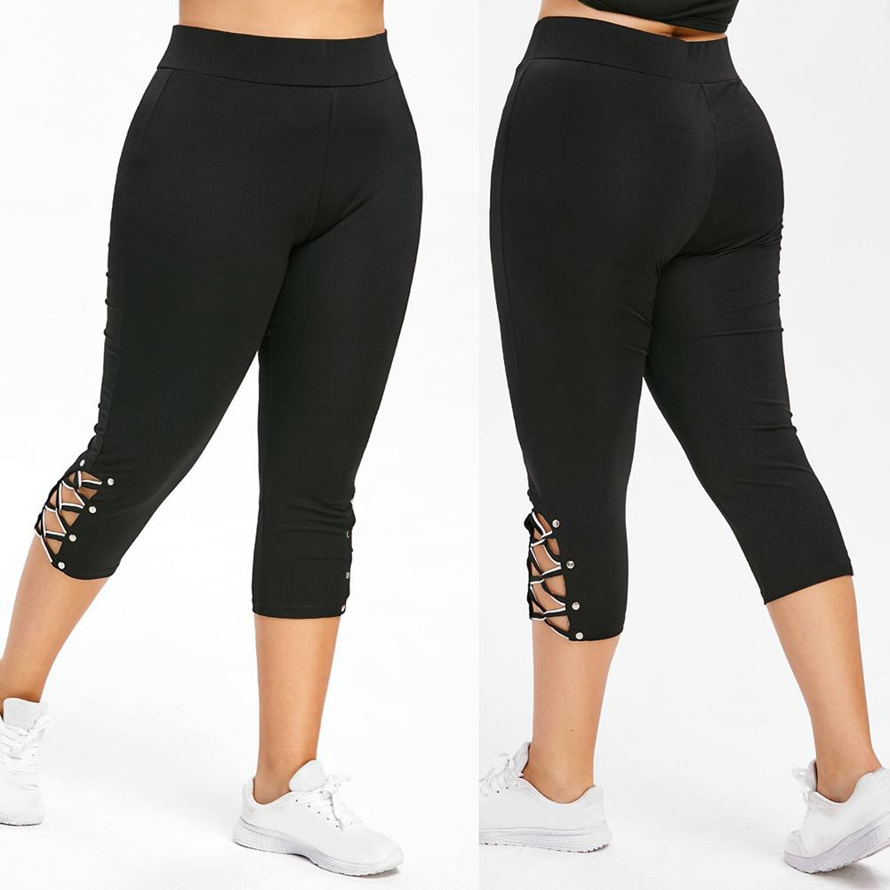 Plus Size Leggings Women Summer Mid-Calf Pants Leggings Elastic Cropped High Waist Fitness Leggings Bandage Sports Leggings