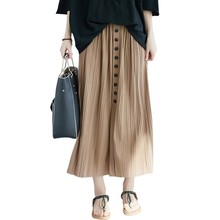 Pleated Skirt Solid Women's Loose Casual Button Decoration Cotton Ankle-Length Empire Waistline Female Skirt
