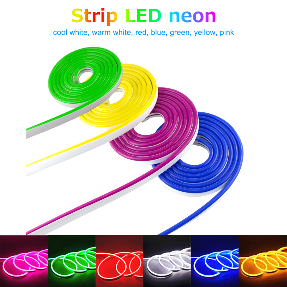 Waterproof Neon DIY Decor LED Lighting Led Neon Light Flex 12V 2835 120leds/m LED Strip Rope Light Touch Dimmable 2A Adapter