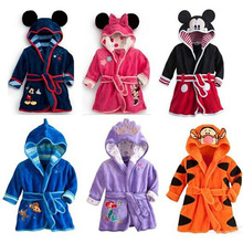 Kids Children Robes Baby Long Sleeve Bathrobe Cartoon Flanne Hooded Bath Robes Velvet Lovely Animal Child Boys Girls Clothes