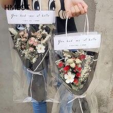 Naturalny suszony kwiat bukiet z torebka na prezent sztuczny kwiat wydarzenie prezent świąteczny łyszczec Daisy Rose prezent na walentynki