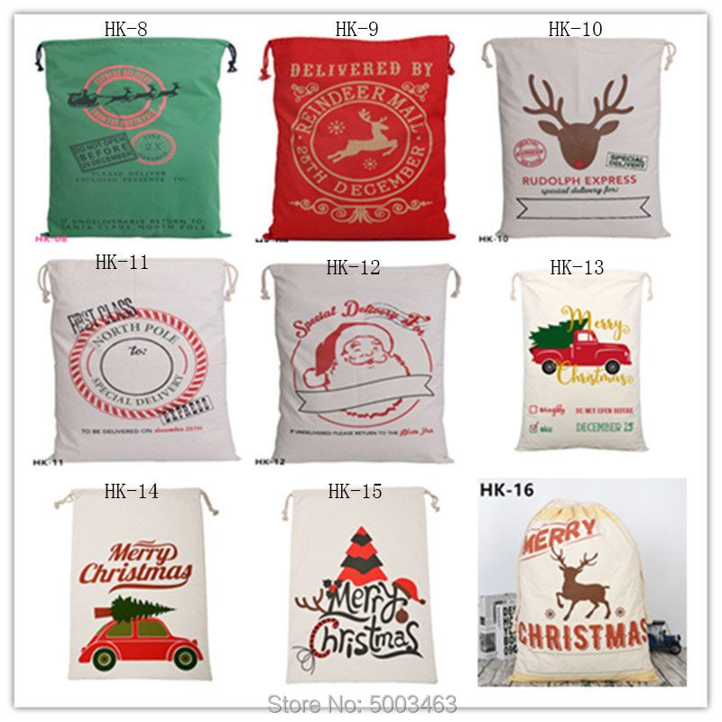 Santa Sacks 10pcs/lot New Styles Christmas Bag Festive Party Kids Supplies Factory Wholesale For Christmas Gift Canvas Bags