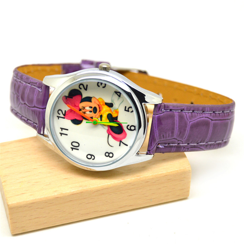 Mickey Mouse Cartoon Wristwatch Mickey Belt Fashion Watch Children Quartz Watch Kids Watches Gifts Boys Quartz Leather