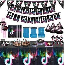 Tik tema aniversário utensílios de mesa papéis de parede banner copos de papel tecido palete faca, garfo e colher festa suprimentos conjunto