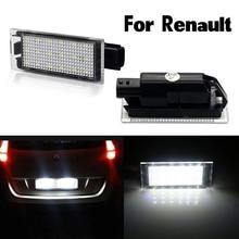 Комплект из 2 предметов, Белый светодиодный для Renault Clio Grand Tour MK 3 4 Kangoo Koleos Kadjar номерной знак автомобиля Подсветка регистрационного номера сбо...