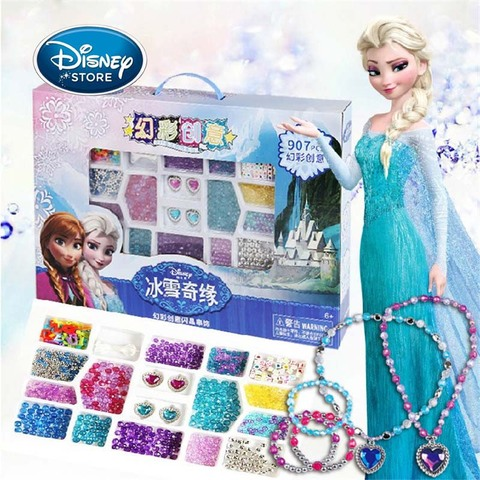 disney princesa menina 907 pcs set diy frisado congelado elsa anna criancas artesanal frisado colar