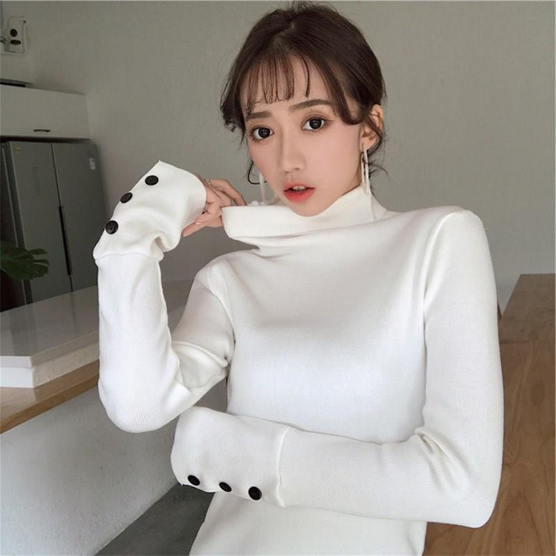 Nice Korean Women Solid Button Sweater Slim Knitted Sweater Autumn Winter Turtleneck Long Sleeve Casual Pullovers Jumper