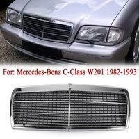 MagicKit Grille For Mercedes Benz C Class W201 190E 190D Chrome Front bumper Center Hood Sport Grille Grill 5R 1984 1993