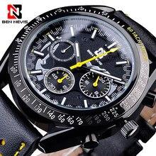Sport Black Men's Quartz Watch 3 Sub Dial BEN NEVIS Fashion Leather Wristwatch Date Clock Male Watch Relojes Hombre