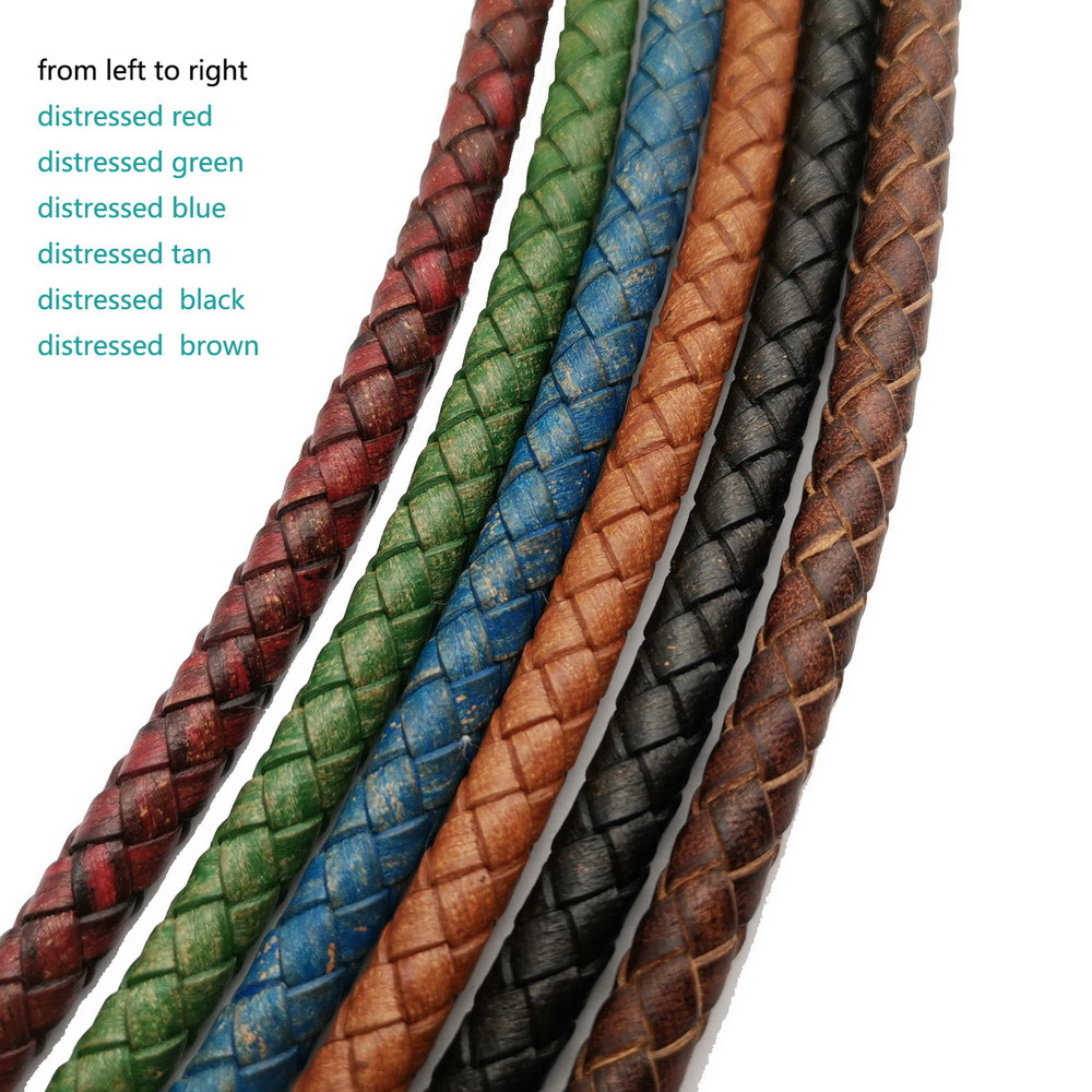 Aaazee 1 Yard 6mm Braided Leather Strap Woven Folded Leather Bolo Ties Cord For Bracelet Making Distressed Color