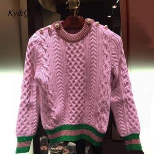 Image 2 - Brand Runway Designer 2020 Christmas Pearls Pink Sweater Pullover Women Autumn Winter Striped Female Knit Button Jumper Luxury