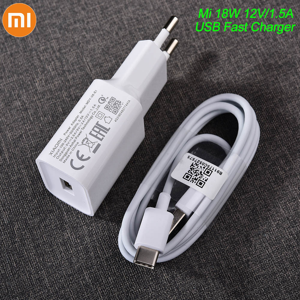 MDY-08-EI Original Xiaomi USB Charger 18W EU Adapter USB 3.0 TYPE C Data Cable For Mi 5 6 8 9 Redmi Note 7 8 Pro F1 A2 A3 Lite