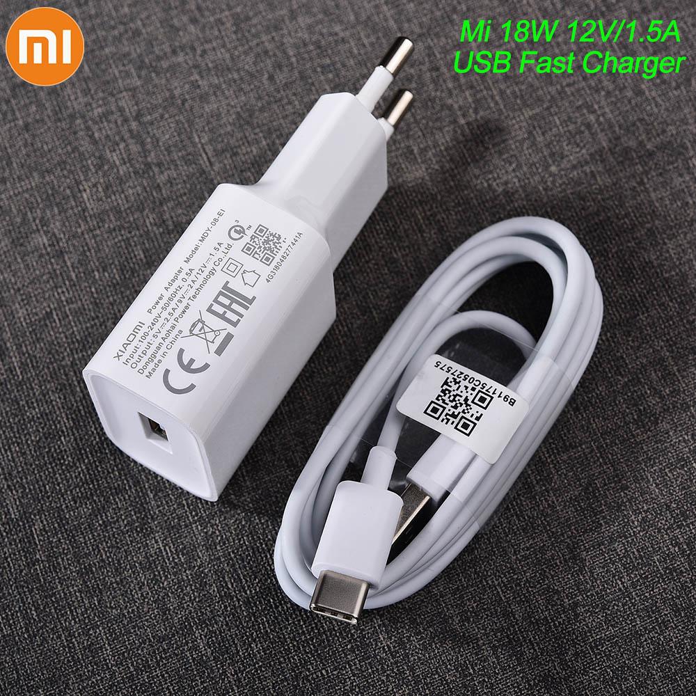 Оригинальное зарядное устройство Xiaomi USB 18 Вт, адаптер ЕС, USB 3,0, кабель для передачи данных TYPE C для Mi 5 6 8 9 Redmi Note 7 8 Pro F1 A2 A3 Lite