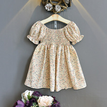 Mihkalev Pattern Print Kids Summer Dress For Girls 2021 Floral Princess Dresses Children Cotton Birthay Party Tutu Dress