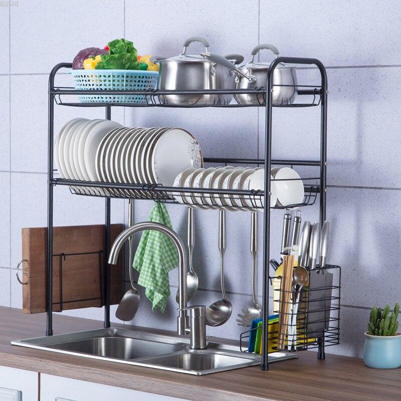 60cm 70cm 80cm 90cm Black 304 Stainless Steel Sink Dish Drain Rack Kitchen Sink Storage Shelf Kitchen Organizer Dish Rack Racks Holders Aliexpress
